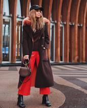 bag,handbag,cropped pants,vinyl,high heels boots,wide-leg pants,jumper,coat,cap