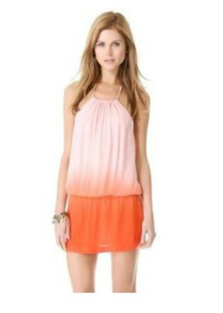 dress slouchy orange ombre dress mini dress halter dress