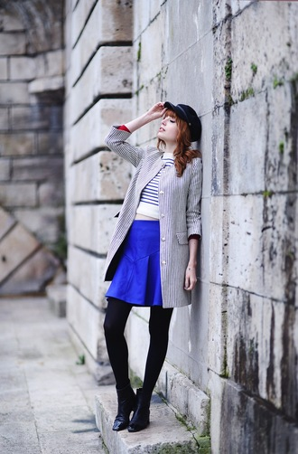 miss pandora blogger coat blue skirt striped sweater spring outfits