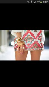 skirt,jewels,gold jewelry,colored,dress,aztc skirt pink,multi-color skirt