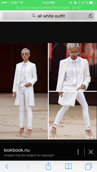 shirt all white everything all white outfit white shirt white pants white jacket white coa white jeans white white coat dope cute white t-shirt white heels white top fashion jacket jewels top shoes
