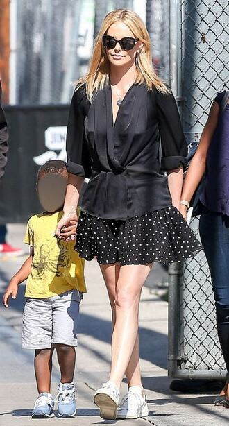 skirt charlize theron polka dots blouse