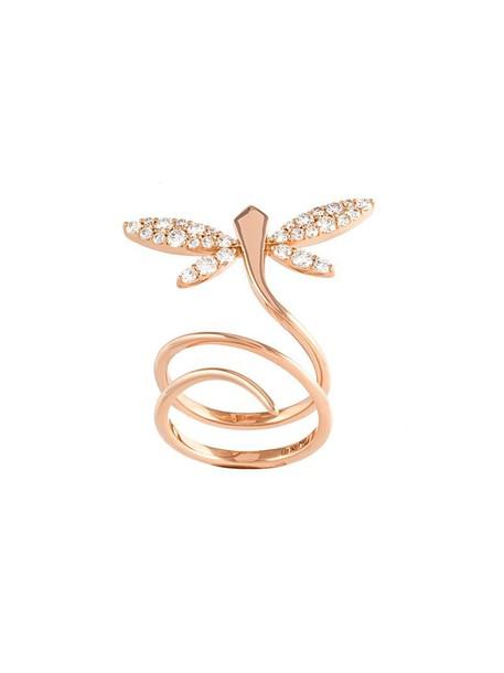 Anapsara diamond ring rose gold rose women dragonfly ring gold grey metallic jewels