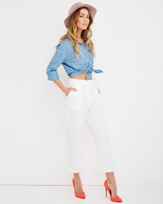 pants trouser pants pleated pleated pants white white pants