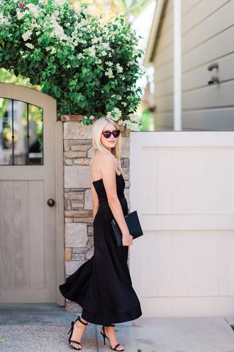 modern ensemble blogger dress shoes bag sunglasses black dress midi dress high heel sandals sandals clutch