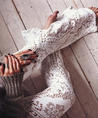 pants boho lace hippie jewls ring