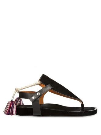 tassel sandals suede black shoes