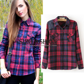 2014 New Spring Women's Casual Plaid Shirt Blouse with Pockets Fashion Red Lapel Long Sleeve Blouses Blusas Femininas-in Blouses & Shirts from Apparel & Accessories on Aliexpress.com | Alibaba Group