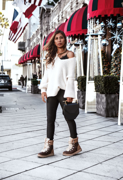 fancycorrectitude blogger sweater boots black pants white sweater fall outfits winter outfits