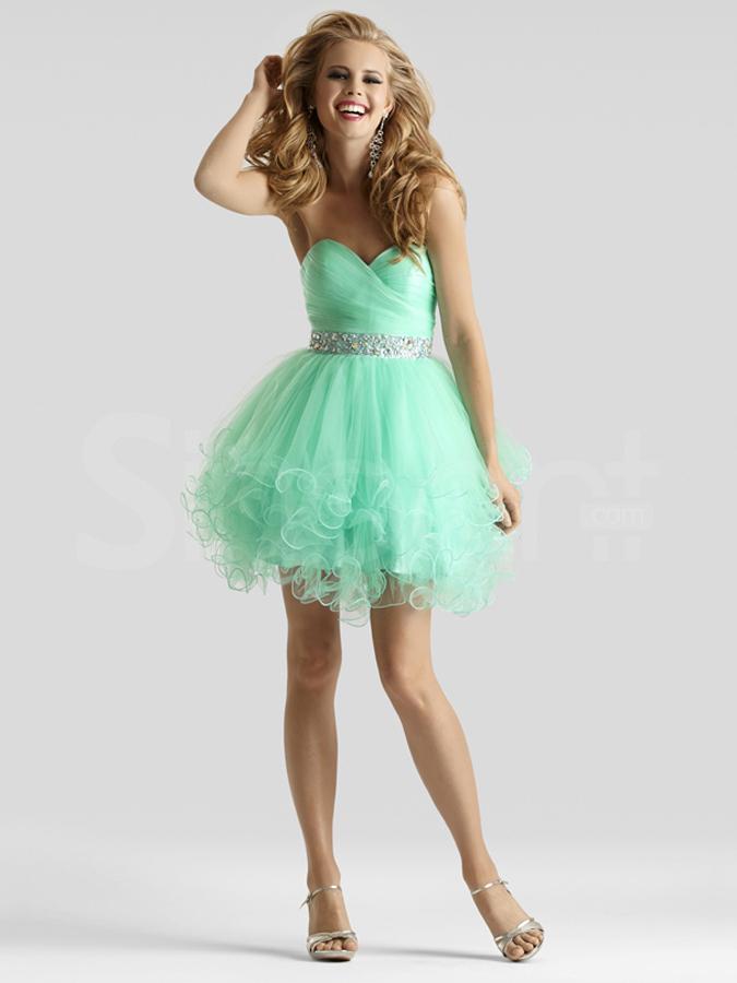 Buy Cute Light Green Ball Gown Sweetheart Neckline Mini Beadings ...