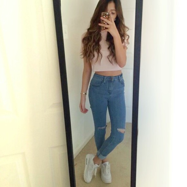 High Waisted Jeans And Crop Top Tumblr Jeans: cute jeans, hig...