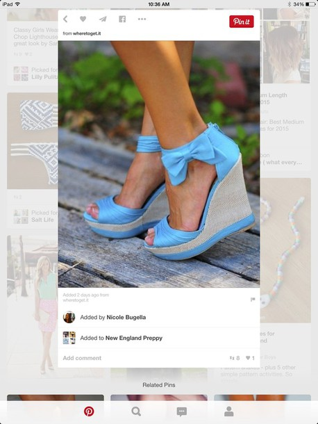 shoes blue wedge with bow on the side and zipper on the back
