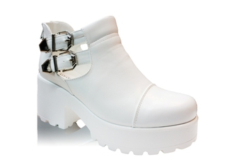 shoes white ankle heels buckle zip up womens ladies cut out cleated sole sole platform shoes heel