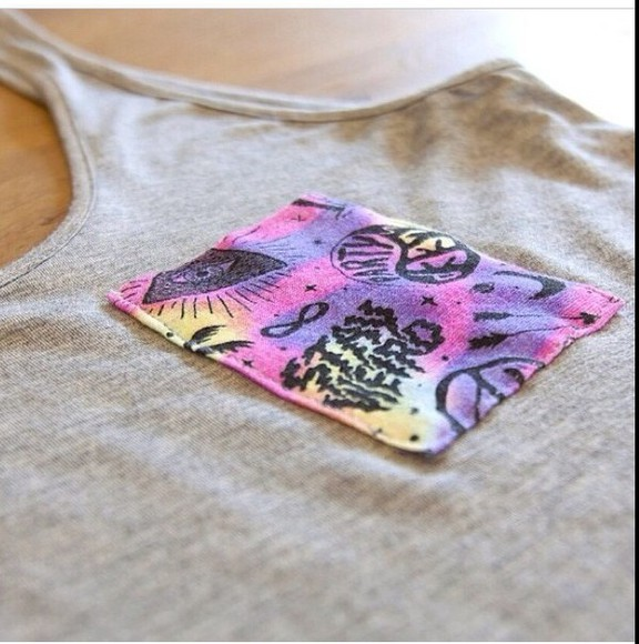 tribal pattern pocket tank top pocket tee