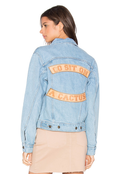 Understated Leather Go Sit on a Cactus Denim Jacket in blue