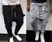 pants,funny,joggers,sportswear,grey,black,low crotch,menswear,guys,jumpsuit,sweatpants