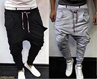 pants humor joggers sports grey black low crotch menswear guys jumpsuit grey black saggy joggers pants joggies skinny jogger pants