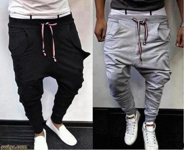 pants funny pants joggers sportswear grey black low crotch menswear guys menswear jumpsuit