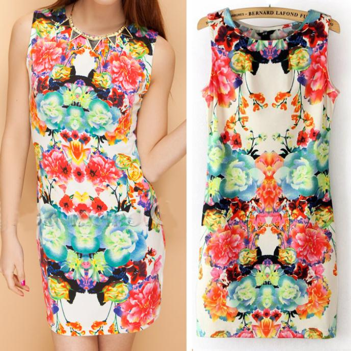 2014 Spring New Fashion Women's Sleeveless Printed Dress Pencil Dress Above-Knee Length Sheath Elastic Girls Dress in Stock | Amazing Shoes UK