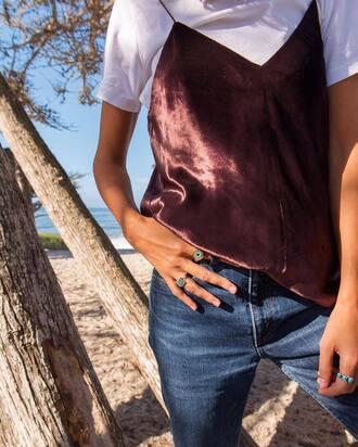 top tumblr pink top spaghetti strap satin t-shirt white t-shirt denim jeans blue jeans