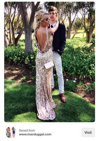 dress formal ball gold pretty prom dress backless prom dress