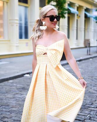 dress tumblr gingham yellow yellow dress earrings accessories accessory sunglasses jewels