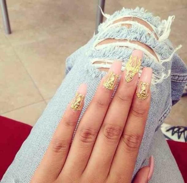 jewels, nails, nail accessories, nail art, gold, 3d nail art ...