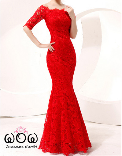 Long lace bodycon red dress mermaid