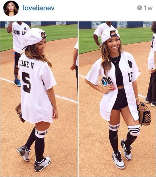 baseball jersey,liane v,cardigan,shirt,cute outfits,baseball,jersey,knee high,socks,cementgrey3s