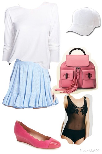 bag pink backpack skirt blouse underwear hat shoes