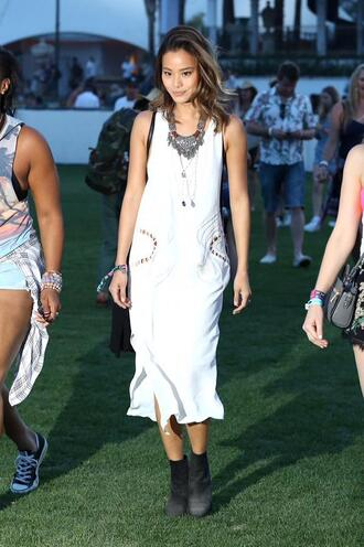 dress midi dress white coachella jamie chung necklace feathers bracelets jewels