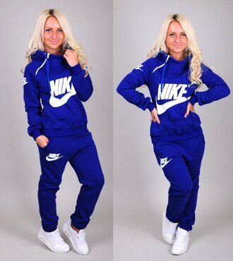 sweater zip blue top jacket hoodie nike tracksuit pants sportswear jumpsuit long sleeves jumper collar hood
