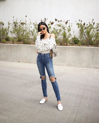 jeans white flats denim ripped jeans shoes shirt top off the shoulder top sunglasses bag