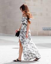 dress,tumblr,off the shoulder,off the shoulder dress,floral,floral dress,slit dress,sandals,flat sandals,black sandals,bag,black bag,shoes