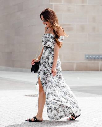 dress tumblr off the shoulder off the shoulder dress floral floral dress slit dress sandals flat sandals black sandals bag black bag shoes
