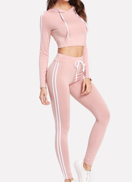 jumpsuit girly pink white two-piece matching set crop tops crop cropped leggings