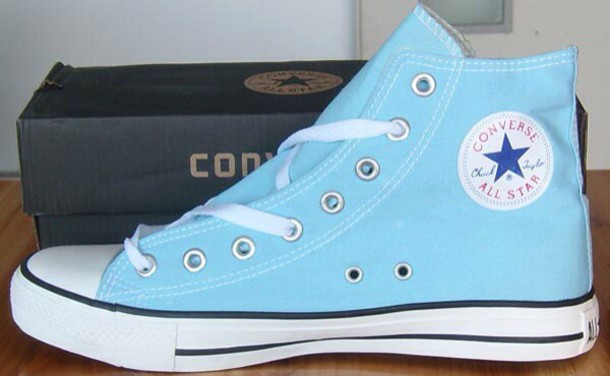 shoes high top converse converse baby blue light blue socks