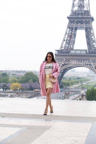 skirt mini skirt t-shirt winter coat coat studded pumps blogger blogger style slogan t-shirts crossbody bag chloe
