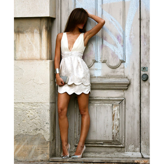 dress bqueen fashion girl off-white bodycon sexy cute deep v embroidered chic bud party evening dress event cute dress