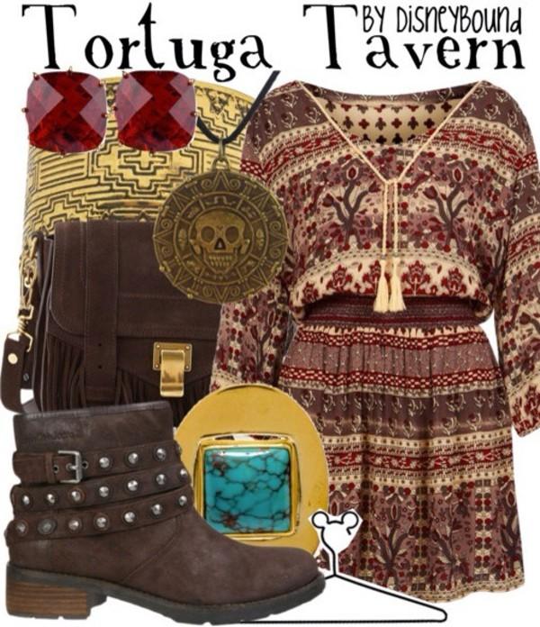dress disney tortuga tavern tortuga tavern pirate shit pirates of the carribean shoes jewels bag jewelry boho bohemian boho chic boho jewelry necklace tassel