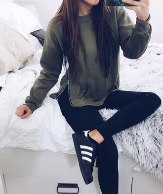 sweater kaki sweater green kaki kamo sweatpants hoodie croppeded jumper instagram