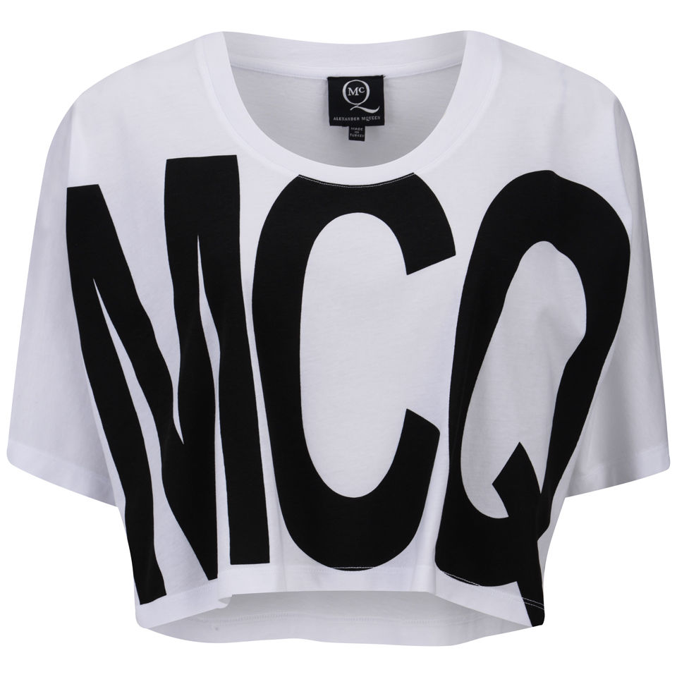 McQ Alexander McQueen Women's Logo Print Cropped T-Shirt - White 					Womens Clothing - Free UK Delivery over £50