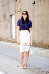 kendi everyday,blogger,skirt,dress,top,eyelet top,blue top,short sleeve,midi skirt,eyelet skirt,eyelet detail,white skirt,spring outfits,pumps,pointed toe pumps,nude pumps,sunglasses,tortoise shell,bag,white bag
