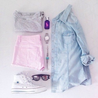pants light pink shorts shirt denim shirt cute top dressy shirts jeans shirt