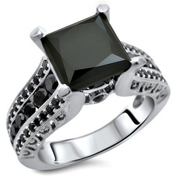 Jewels all black diamond engagement ring princess and round cut black diamo