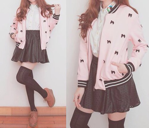 jacket blouse skirt bomber jacket pink jacket
