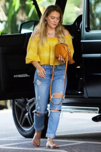 jeans blouse yellow yellow top hilary duff streetstyle