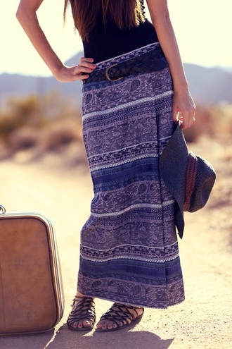 skirt blue dress blue skirt blue maxi dress boho boho chic boho maxi skirt boho skirt hippie maxi skirt vintage gypsy floral skirt shoes