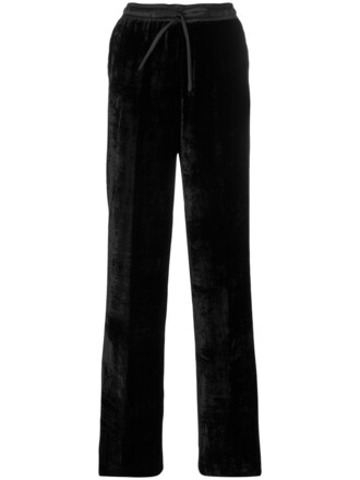 pants track pants women cotton black silk velvet
