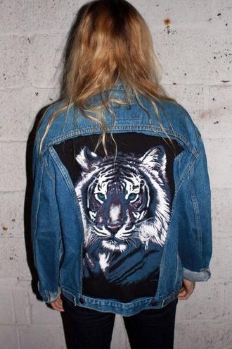 jacket tiger tiger face denim jacket denim grunge tumblr rock jeans